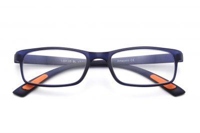 Milano model leesbril, blauwe kleur, frontview, gesloten pootjes