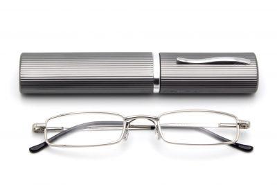 Perozi model leesbril, zilveren kleur met een grijze brillenkoker, frontview, gesloten pootjes