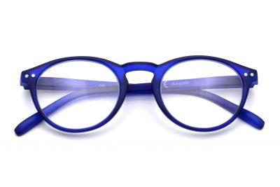 Arezzo model leesbril, blauwe kleur, frontview, gesloten pootjes