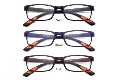 Combinatie van drie Milano leesbrillen, zwart, blauw & bruin in verschillende sterktes beschikbaar