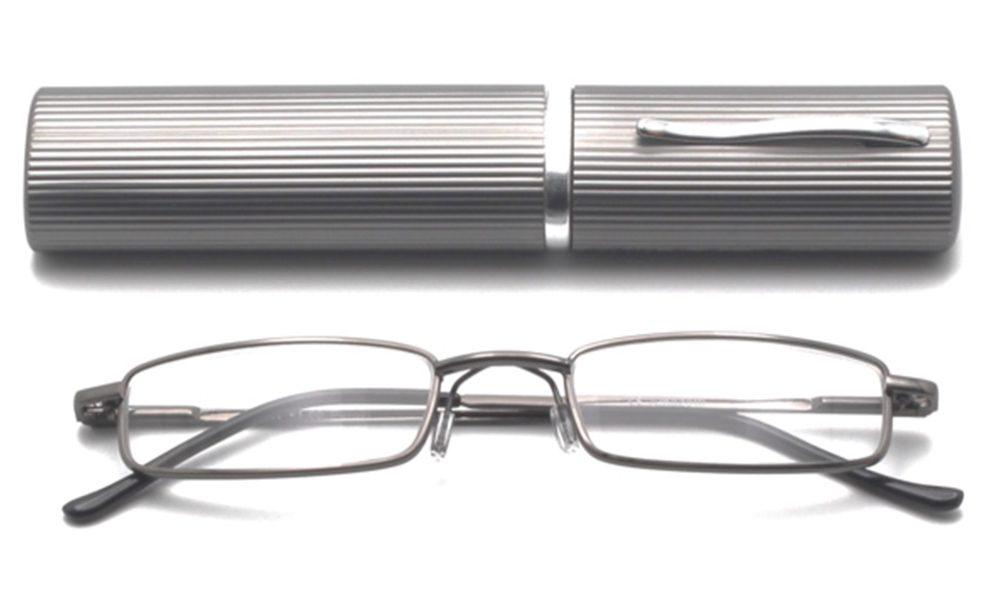 Perozi model leesbril, grijze kleur met een grijze brillenkoker, frontview, gesloten pootjes