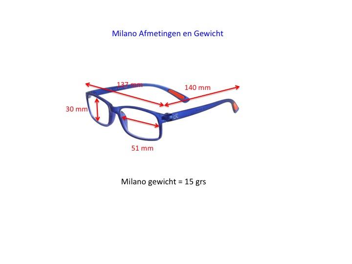 Milano productinformatie, afmetingen en gewicht